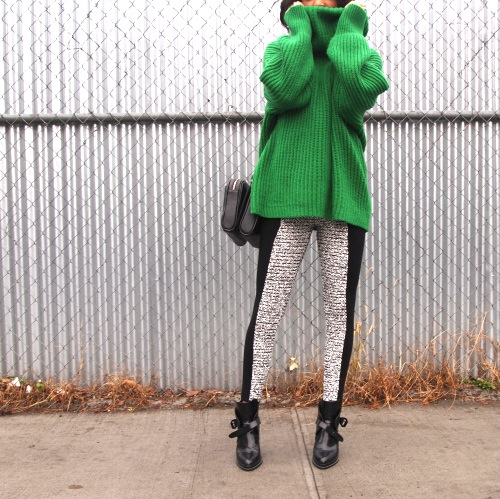 American Apparel green fisherman sweater, Alexander Wang leggings