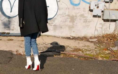 white christian louboutin boots