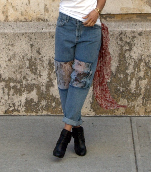 Topshop Organza Patch Jeans