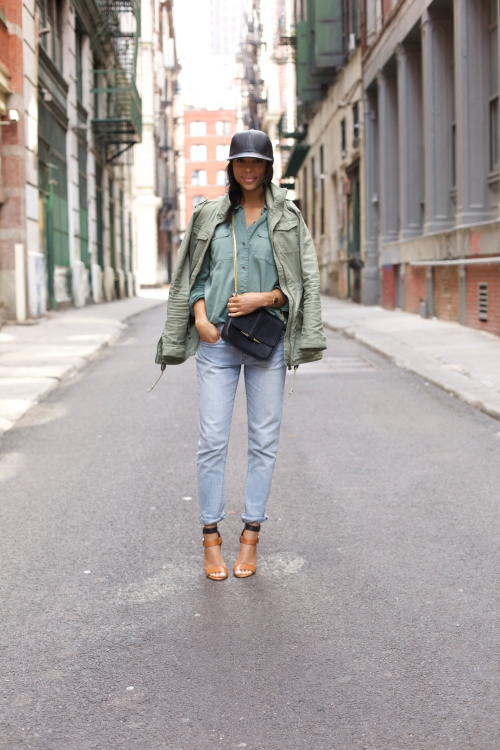 green anorak + leather hat